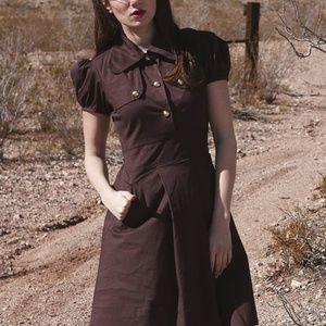 Shabby Apple Coco Bean Cotton Brown Dress XXS